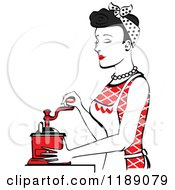 Retro Happy Black Haired Housewife Using A Manual Coffee Grinder In Profile 2