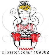 Clipart Of A Retro Happy Dirty Blond Housewife Holding Freshly Baked Cookies 2 Royalty Free Vector Illustration by Andy Nortnik