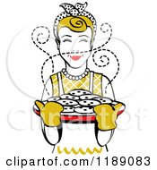 Clipart Of A Retro Happy Dirty Blond Housewife Holding Freshly Baked Cookies Royalty Free Vector Illustration