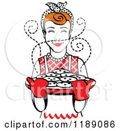 Clipart Of A Retro Happy Redhead Housewife Holding Freshly Baked Cookies 2 Royalty Free Vector Illustration by Andy Nortnik