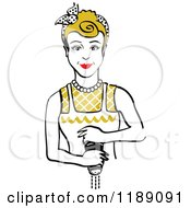Clipart Of A Retro Dirty Blond Housewife Or Maid Woman Grinding Fresh Pepper Royalty Free Vector Illustration by Andy Nortnik
