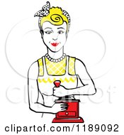 Retro Happy Blond Housewife Using A Manual Coffee Grinder 2