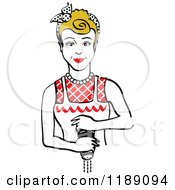 Clipart Of A Retro Dirty Blond Housewife Or Maid Woman Grinding Fresh Pepper 2 Royalty Free Vector Illustration by Andy Nortnik