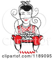 Clipart Of A Retro Happy Black Haired Housewife Holding Freshly Baked Cookies 2 Royalty Free Vector Illustration by Andy Nortnik