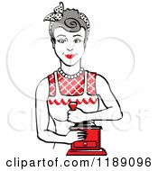 Retro Happy Gray Haired Housewife Using A Manual Coffee Grinder 2