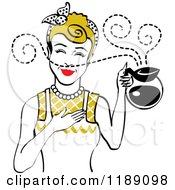 Clipart Of A Dirty Blond Waitress Or Housewife Smelling The Aroma Of Fresh Hot Coffee In A Pot Royalty Free Vector Illustration