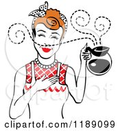 Redhead Waitress Or Housewife Smelling The Aroma Of Fresh Hot Coffee In A Pot 2