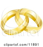 Two Entwined Golden Wedding Rings Clipart Picture