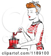 Retro Happy Red Haired Housewife Using A Manual Coffee Grinder In Profile 2