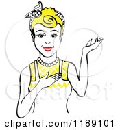 Clipart Of A Retro Happy Blond Housewife Waitress Or Maid Woman Wearing An Apron And Presenting 2 Royalty Free Vector Illustration by Andy Nortnik