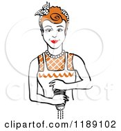 Clipart Of A Retro Redhead Housewife Or Maid Woman Grinding Fresh Pepper Royalty Free Vector Illustration by Andy Nortnik