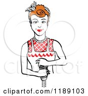 Clipart Of A Retro Redhead Housewife Or Maid Woman Grinding Fresh Pepper 2 Royalty Free Vector Illustration by Andy Nortnik