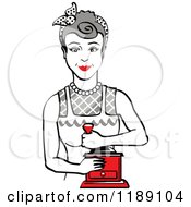 Retro Happy Gray Haired Housewife Using A Manual Coffee Grinder