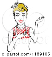 Retro Happy Dirty Blond Housewife Waitress Or Maid Woman Wearing An Apron And Presenting 2