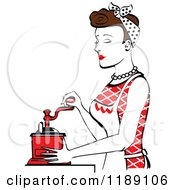 Retro Happy Brunette Housewife Using A Manual Coffee Grinder In Profile 2