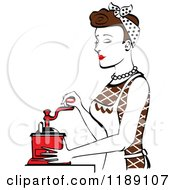 Retro Happy Brunette Housewife Using A Manual Coffee Grinder In Profile