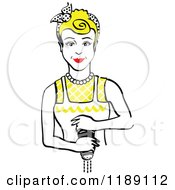 Clipart Of A Retro Blond Housewife Or Maid Woman Grinding Fresh Pepper 2 Royalty Free Vector Illustration by Andy Nortnik