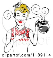 Dirty Blond Waitress Or Housewife Smelling The Aroma Of Fresh Hot Coffee In A Pot 2