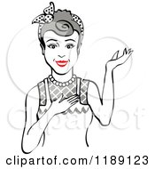 Retro Happy Gray Haired Housewife Waitress Or Maid Woman Wearing An Apron And Presenting