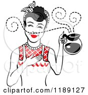 Black Haired Waitress Or Housewife Smelling The Aroma Of Fresh Hot Coffee In A Pot
