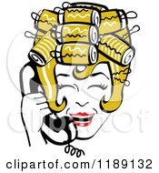 Clipart Of A Happy Retro Dirty Blond Housewife With Her Hair Up In Curlers Laughing While Talking On A Landline Telephone Royalty Free Vector Illustration