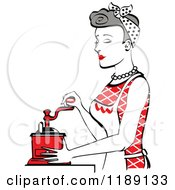 Retro Happy Gray Haired Housewife Using A Manual Coffee Grinder In Profile 2