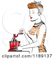 Retro Happy Red Haired Housewife Using A Manual Coffee Grinder In Profile