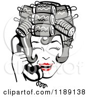 Clipart Of A Happy Retro Gray Haired Housewife With Her Hair Up In Curlers Laughing While Talking On A Landline Telephone Royalty Free Vector Illustration