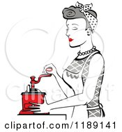 Retro Happy Gray Haired Housewife Using A Manual Coffee Grinder In Profile