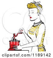 Retro Happy Dirty Blond Housewife Using A Manual Coffee Grinder In Profile 2