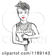 Retro Gray Haired Housewife Or Maid Woman Grinding Fresh Pepper