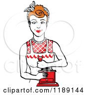 Retro Happy Red Haired Housewife Using A Manual Coffee Grinder 2