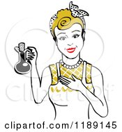 Happy Retro Dirty Blond Woman In An Apron Holding Up A Bottle Of Cooking Oil