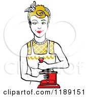 Retro Happy Dirty Blond Housewife Using A Manual Coffee Grinder