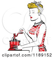 Retro Happy Dirty Blond Housewife Using A Manual Coffee Grinder In Profile