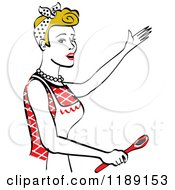 Clipart Of A Happy Retro Dirty Blond Housewife Singing And Holding A Spoon In The Kitchen Royalty Free Vector Illustration
