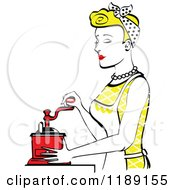 Retro Happy Blond Housewife Using A Manual Coffee Grinder In Profile