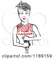 Retro Gray Haired Housewife Or Maid Woman Grinding Fresh Pepper 2