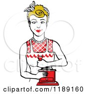 Retro Happy Dirty Blond Housewife Using A Manual Coffee Grinder 2