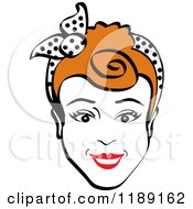 Happy Retro Redhead Woman Smiling And Wearing A Scarf In Her Hair