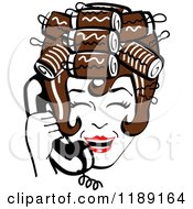 Clipart Of A Happy Retro Brunette Housewife With Her Hair Up In Curlers Laughing While Talking On A Landline Telephone Royalty Free Vector Illustration