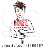Clipart Of A Retro Brunette Housewife Or Maid Woman Grinding Fresh Pepper 2 Royalty Free Vector Illustration