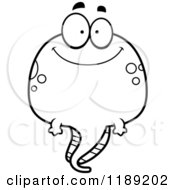 Cartoon Of A Black And White Happy Tadpole Mascot Royalty Free Vector Clipart by Cory Thoman