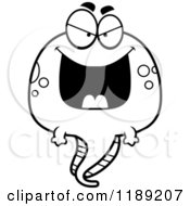 Cartoon Of A Black And White Grinning Evil Tadpole Mascot Royalty Free Vector Clipart by Cory Thoman