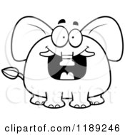 Cartoon Of A Black And White Excited Grinning Elephant Mascot Royalty Free Vector Clipart