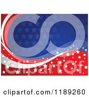 Clipart Of A Patriotic American Red White And Blue Star Patterned And Wave Background Royalty Free Vector Illustration