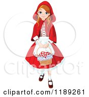 Happy Girl Dressed As Red Riding Hood Carrying A Basket