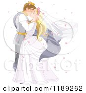 Cartoon Of A Fairy Tale Prince And Princess Wedding Couple Kissing Surrounded By Heart Confetti Royalty Free Vector Clipart