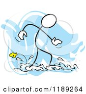 Cartoon Of A Stickler Man Wading In Water And Watching A Fish Over Blue Royalty Free Vector Clipart