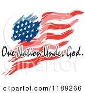Cartoon Of A Wavy Painted American Flag With One Nation Under God Text Royalty Free Vector Clipart by Johnny Sajem